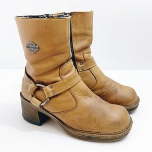Harley Davidson Leather Harness Boots, Size 6